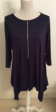 Yong Kim Modal 3/4 Sleeve Tunic Top with Zip Front - Size 16 - Navy