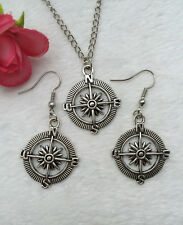 1 set of Retro silver compass pendant necklace & earrings Fashion Jewelry