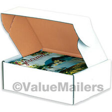 50 - 9 x 6 1/4 x 2 White Front Tab Lock Protective Shipping Mailer Box Boxes