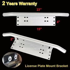 "23"" Bull Bar Front Bumper License Plate Mount Bracket Holder Auto Work Fog Light"