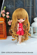 """Fit for Blythe & 18"""" American Girl Doll Wig CBW-L039(24/144M) Flaxen&dark blonde"""