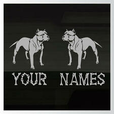 """Pitbull Dogs ADD YOUR NAMES Set of 2 SILVER Outdoor Durable Decals Stickers 8"""""""