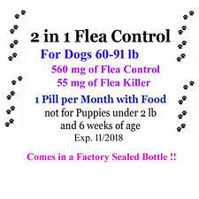 2in1 Flea Killer & Control in one Pill 6 month for Dogs 60-91 lb Factory sealed