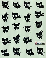 Nail Art Water Decals Black Cat BLE1498