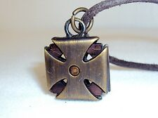 Necklace ~ Brass Squared Iron Cross Pendant ~ Leather Cord NEW #5410150
