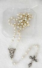 Gift Boxed White Glass Pearl Beads BAPTISM ROSARY Catholic Keepsake for Baby NEW