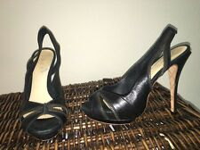 ��LAMB Dawna Platform Zipper Slingback Black Leather Heels 8 M US��SEXY��