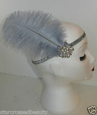 Grey Silver Ostrich Feather Flapper Headpiece Headband 1920s Great Gatsby L87