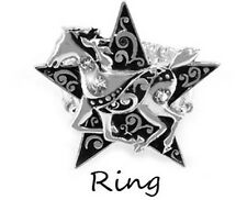 Western Cowgirl Jewelry Star Horse Stretch Ring/Scarf Slide
