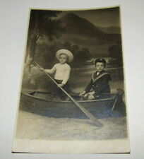 Old Postcard, Children In Rowing Boat PROP, One Child Wearing Sailor Uniform.