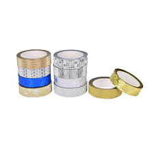 10M Glitter Silver Gold Washi Tape Paper Self Adhesive Stick On Sticky Craft Hot