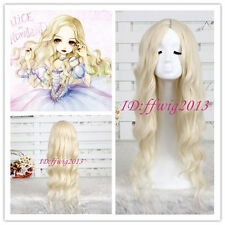 Alice In Wonderland White Queen wave curly women lady Light Blonde cosplay Wig