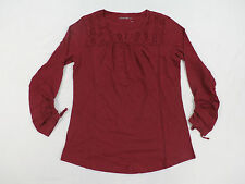 Eddie Bauer Women's Long Sleeve Lace Top Blouse Cranberry Medium DC2 NWT