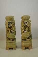 Antique Chinese Carved Soapstone Candlestick Pairs