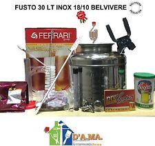 KIT FERMENTAZIONE BIRRA CON FUSTO 30 LT INOX 18/10 ACCESSORI COMPLETO + MALTO