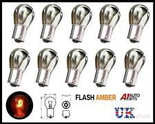 10x Cromo Plata Bombillas Bombilla contrario Pin indicador Flash ámbar naranja ba156 S25