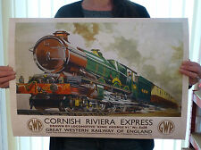 Vintage Railway Travel Poster - Train Cornwall Cornish Riviera GWR - A2