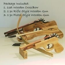 KID WOODEN CROSSBOW RIFLE PISTOL  COWBOY RUBBER BAND SHOOTING LAUNCHER BOW SET