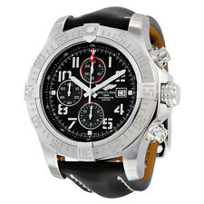Breitling Super Avenger II Chronograph Automatic Black Dial Black Leather Mens