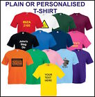 Plain or Printed Personalised T Shirts Stag Hen Birthday Workwear Party Charity