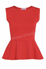 LADIES SLEEVELESS PLAIN PEPLUM FRILL FLARED PLUS SIZE MINI PATRY DRESS TOP 8-26