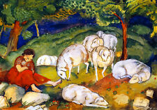 Shepherdess with Sheep  by Franz Marc   Giclee Canvas Print Repro