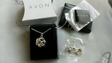 New Avon Elisha Gift Set Necklace & Earring Set  Silver & Crystal Colour