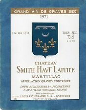 GRAVES GCC VIEILLE ETIQUETTE CHATEAU SMITH HAUT LAFITTE 1971 EXTRA DRY §21/05§