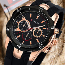 CURREN Casual Men Black Rubber Strap Army Wrist Watch Military Analog Rose Gold