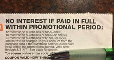 Home Depot no interest for 12-24 months with HD Credit Card exp. 3/31-sent Fast