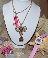 3 PC BETSEY JOHNSON ELEPHANT W/PINK CRYSTAL NECKLACE ELEPHANT EARRINGS & WATCH