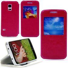 Samsung Galaxy S4 mini i9190 Flip View Fenster Tasche Case Hülle Motiv Etui Pink