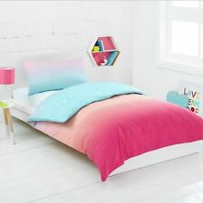 RAINBOW PINK REVERSIBLE SINGLE bed QUILT DOONA COVER SET NEW