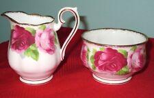 """Royal Albert Vintage """"Old English Rose"""" Bone China Sugar & Creamer Set 1950s"""