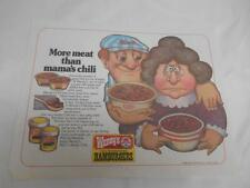 Old Vtg 1980 WENDY'S Old Fashioned Hamburgers PLACEMAT Advertising More Meat