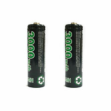 2 pcs AA LR6 2A 1.2V 3000mAh Ni-MH Rechargeable Battery Cell RC GO!Green Black
