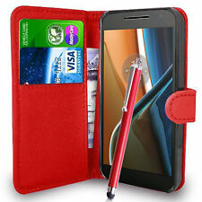 Red Wallet Case PU Leather Book Cover For Motorola Moto G4 (2016) Mobile