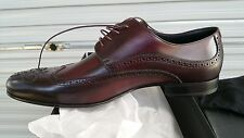 Men's luxury BOSS MODOR Stitch detail RED Maroon leather shoes UK10 US11