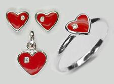 925 ECHT SILBER *** Kinder Set Herz rot Ohrsecker/ Ring/ Anhänger/ Kette