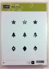 Stampin' Up! MERRY MINIS Clear Rubber Stamp Christmas Tree Ornaments Star NEW