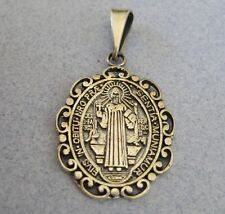Mexican Silver Taxco Oxidized Oval Decor St. BENEDICT Religious Catholic Pendant