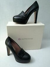 L'AUTRE CHOSE Lima Penny Loafer Platform Pump Black Leather Italy Sz 7/37  $395