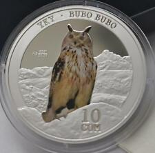 2014 Kyrgyzstan Large Silver Proof 10 Som- Bubo Owl; Nice Box,mintage 3000