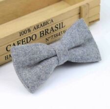 New Men's Luxury Tweed Bow Tie Grey Classic Vintage Bow Tie