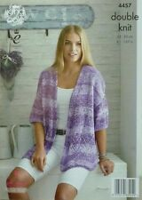 KNITTING PATTERN Ladies Short Drop Sleeve, V-Neck Jacket DK King Cole 4457