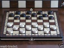 BRAND NEW HAND CRAFTED  WOODEN DRAUGHTS/CHECKERS SET 30cmx30cm