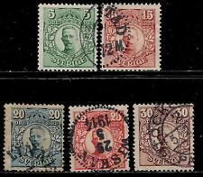 SWEDEN 1910 Over 100 Years Old Stamps With Town Postmarks - King Gustavus V