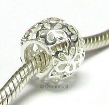 Bright Sterling Silver Filigree Daisy Flower Bead for European Charm Bracelet