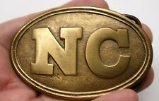 Reproduced N. Carolina Confederate  Belt Buckle Solid Brass Loop and Hook