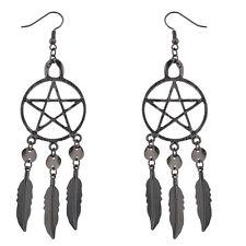 Lux Accessories Hematite Punk Pentagram Dream Catcher Feather Dangle Earrings